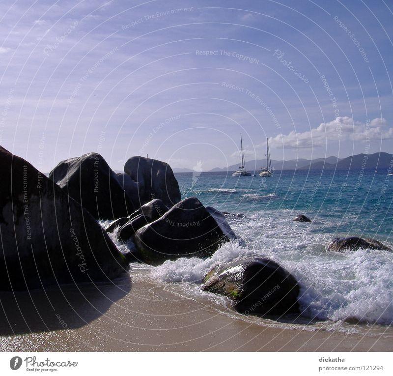 The Bath Wasser Himmel Meer blau Strand Ferien & Urlaub & Reisen Wolken Ferne Erholung Stein Sand Wasserfahrzeug Wellen Wind nass Horizont