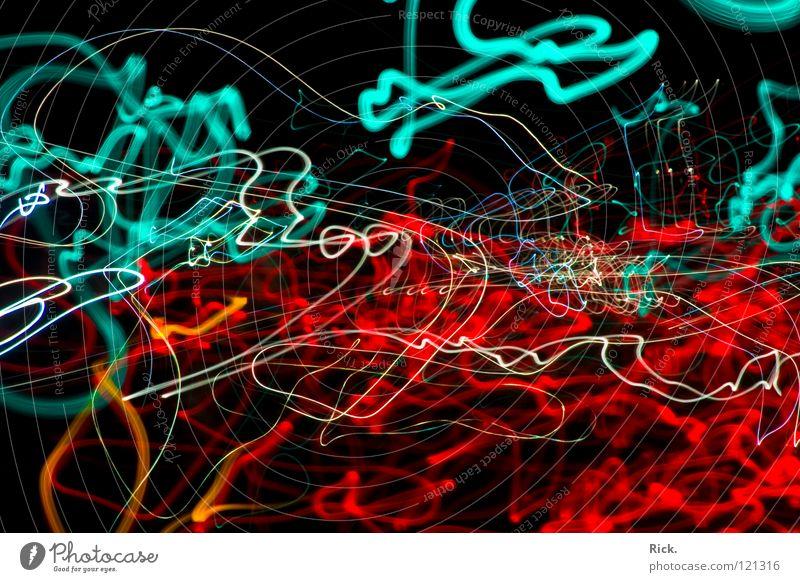 .StreetLights Rushing By #2 Langzeitbelichtung rot weiß schwarz Wellen Belichtung Straßenverkehr Verkehr Autobahn zyan Geschwindigkeit durcheinander Ampel