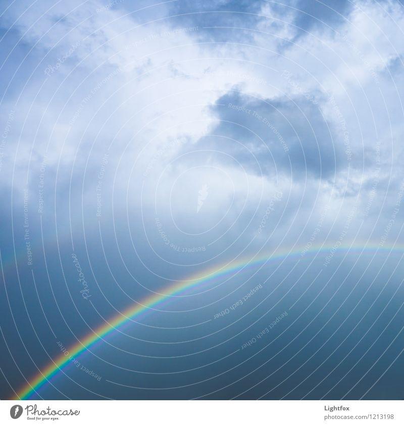 Bogen überspannt Urelemente Himmel Wolken Gewitterwolken Sonnenlicht Klima Klimawandel Wetter Schönes Wetter Regen Wasser Globus blau grau Akzeptanz Sicherheit