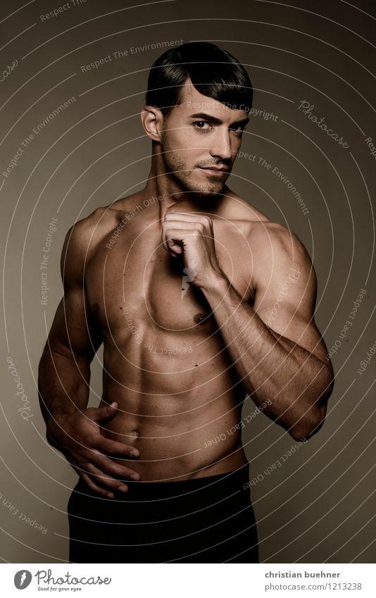 muskelspiel Mensch Jugendliche nackt schön Junger Mann Freude 18-30 Jahre Erwachsene Bewegung Gesundheit Mode Kraft Körper Erfolg ästhetisch Fitness