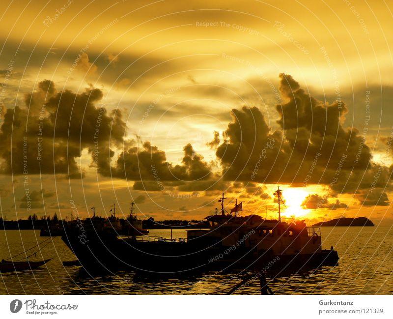 Goldhafen Wasserfahrzeug Küste Meer Wolken Malaysia Sonnenuntergang Asien Hafen Himmel Strand gold abenstimmung Borneo kota kinabalu