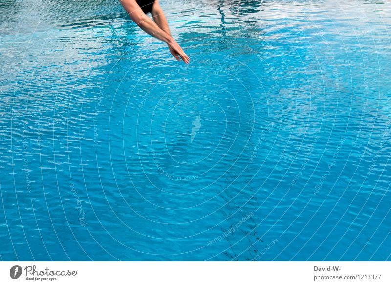 Köpper Mensch Ferien & Urlaub & Reisen Jugendliche Mann blau Sommer Wasser Junger Mann Erwachsene Leben Sport Schwimmen & Baden springen maskulin