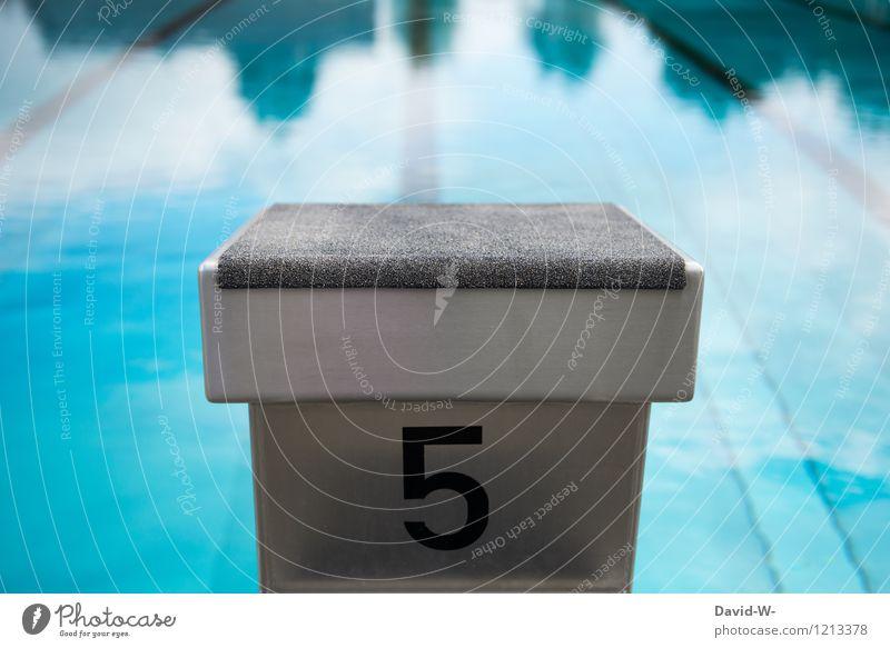 Startblock Nr.5 Mensch blau Sommer Wasser Leben Sport Gesundheit Schwimmen & Baden springen Freizeit & Hobby Erfolg Fitness Wellness Schwimmbad sportlich
