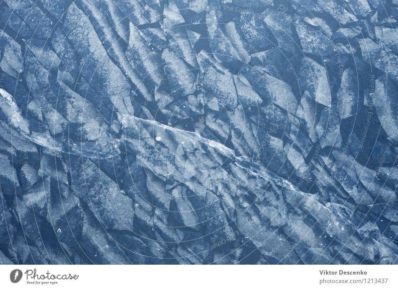 Blaues Eis auf dem See im Winter Natur blau weiß natürlich Frost Jahreszeiten gefroren durchsichtig Oberfläche Konsistenz Arktis