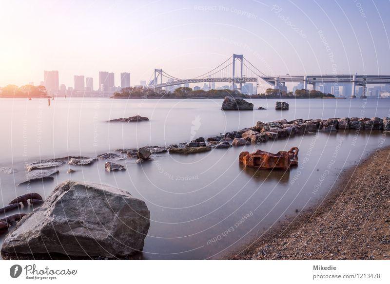 Tokyo bay Rainbow Bridge Stadt Wasser Sonne ruhig Haus Wärme Architektur Gebäude Stimmung Sand Felsen Erde modern Hochhaus Schönes Wetter Brücke