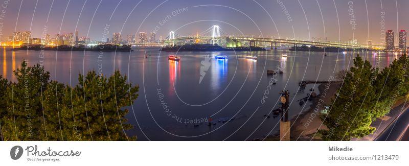 Tokyo bay night panorama blau grün Haus Architektur Gebäude orange gold frei Brücke Romantik Bauwerk Hafen Skyline Hauptstadt Sehenswürdigkeit exotisch