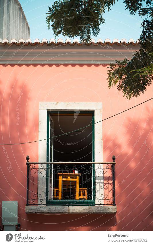 im Rampenlicht| und wenn ich dann auf den Balkon trete ... Himmel Ferien & Urlaub & Reisen Stadt blau Sommer rot Haus Wand Wärme Leben Architektur Gebäude Mauer