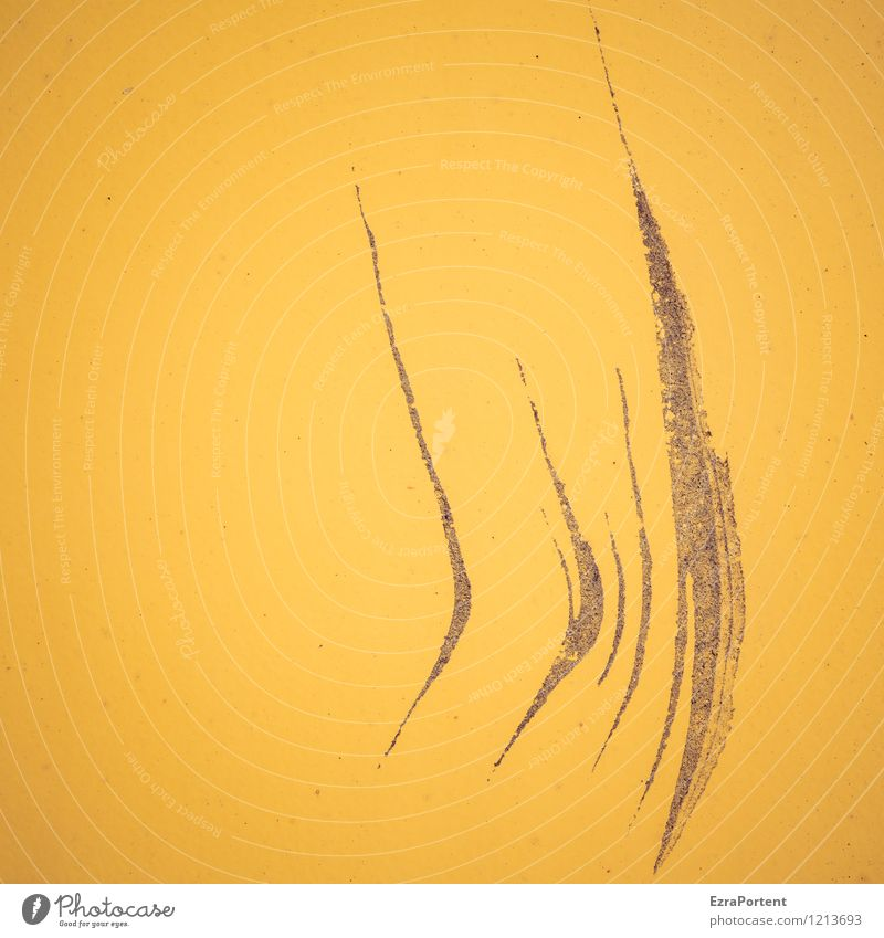 hier, dings Stil Design Metall Zeichen Linie Streifen gelb ästhetisch Farbe kaputt Kratzer Grafik u. Illustration Grafische Darstellung graphisch Lack Farbfoto