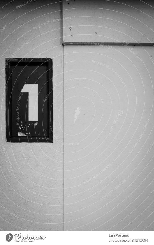 one Stadt Haus Bauwerk Gebäude Architektur Mauer Wand Fassade Dekoration & Verzierung Stein Beton Zeichen Ziffern & Zahlen Linie ästhetisch dunkel kalt schwarz