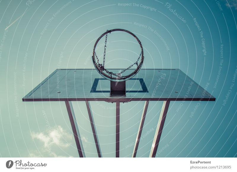 schwindelig| 3,05 Meter Stil Design Freizeit & Hobby Spielen Sport Ballsport Sportstätten Himmel Wolken Wetter Metall Linie hängen ästhetisch dunkel blau grau