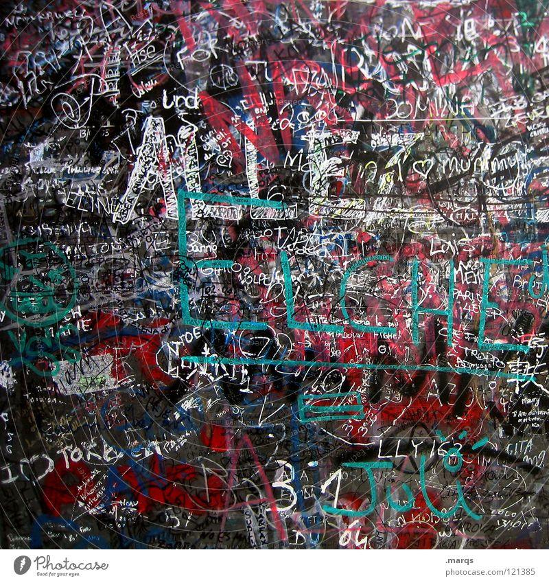 ALLEZ mehrfarbig Schriftzeichen Wand Beschriftung Filzstift durcheinander unordentlich Typographie Collage Plakette Straßenkunst Kunst Kultur Unterschrift