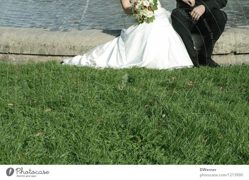 Glückwunsch elegant Stil Hochzeit Mensch Junge Frau Jugendliche Junger Mann Paar Partner 2 Schönes Wetter Gras Park Wiese Kleid Anzug Blumenstrauß sitzen schön