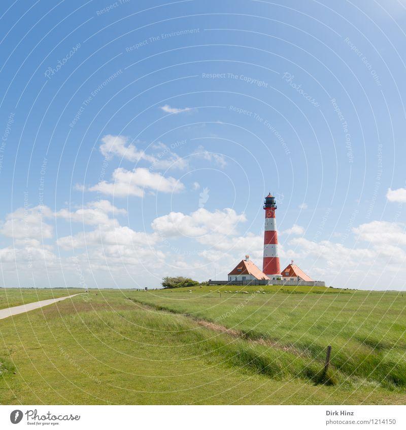 Westerhever Leuchtturm VII Umwelt Natur Landschaft Sehenswürdigkeit Wahrzeichen Denkmal blau grün Navigation Küste Nordseeküste Fernweh Orientierung Horizont