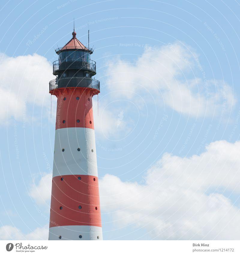 Westerhever Leuchtturm I Landschaft Himmel Wolken Küste Nordsee Bauwerk Architektur Sehenswürdigkeit Wahrzeichen Denkmal Schifffahrt Zeichen Tourismus Tradition