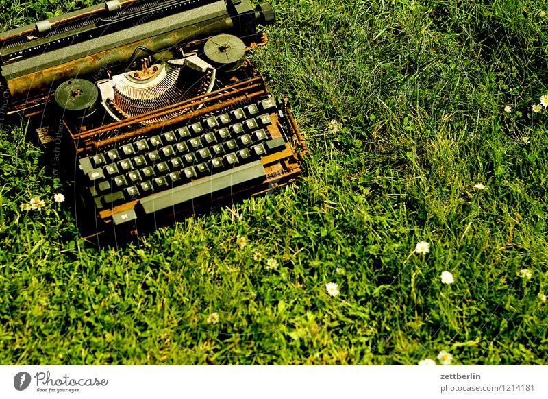 Schreibmaschine Wiese Gras Büro Textfreiraum Schriftzeichen Kommunizieren Vergänglichkeit kaputt lesen Buchstaben Bildung schreiben Information Medien
