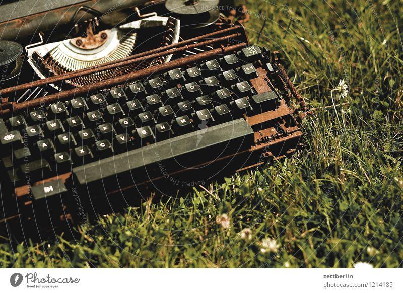 Verrostete Schreibmaschine Wiese Schule Büro Schriftzeichen Kommunizieren lernen Vergänglichkeit kaputt lesen Buchstaben schreiben Information Medien