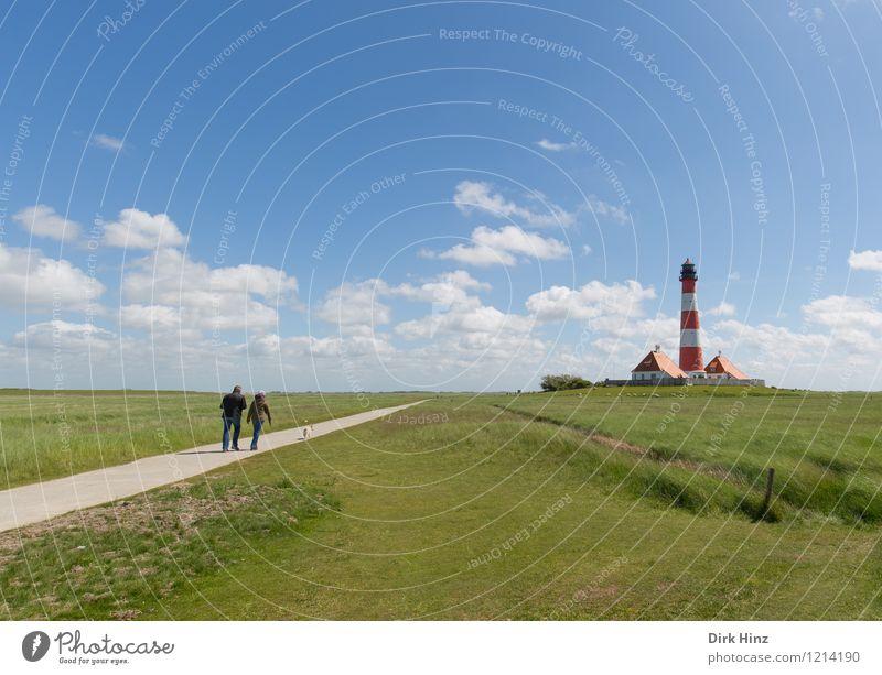Westerhever Leuchtturm VI Umwelt Natur Sehenswürdigkeit Wahrzeichen Denkmal blau grün Navigation Küste Fernweh Orientierung Horizont Richtung Leitsystem