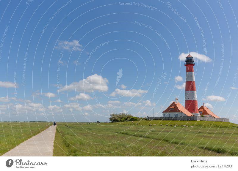 Westerhever Leuchtturm IV blau grün rot Wolken Gefühle Wege & Pfade Freiheit Stimmung Horizont Tourismus authentisch Zeichen historisch Fernweh Wahrzeichen