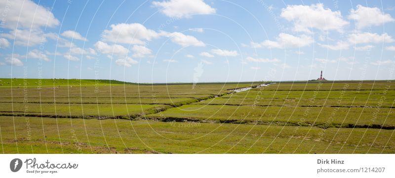 Westerhever Leuchtturm VIII Natur Ferien & Urlaub & Reisen blau grün Landschaft Wolken Umwelt Freiheit Horizont Luft Tourismus Schönes Wetter Urelemente Fernweh