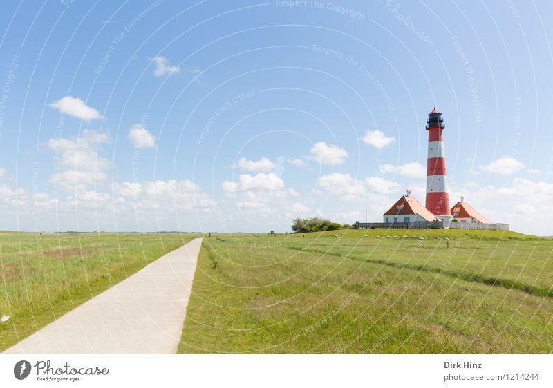 Westerhever Leuchtturm V blau grün rot Wolken Wege & Pfade Küste Freiheit Horizont Tourismus historisch Fernweh Wahrzeichen Denkmal Nordsee Richtung