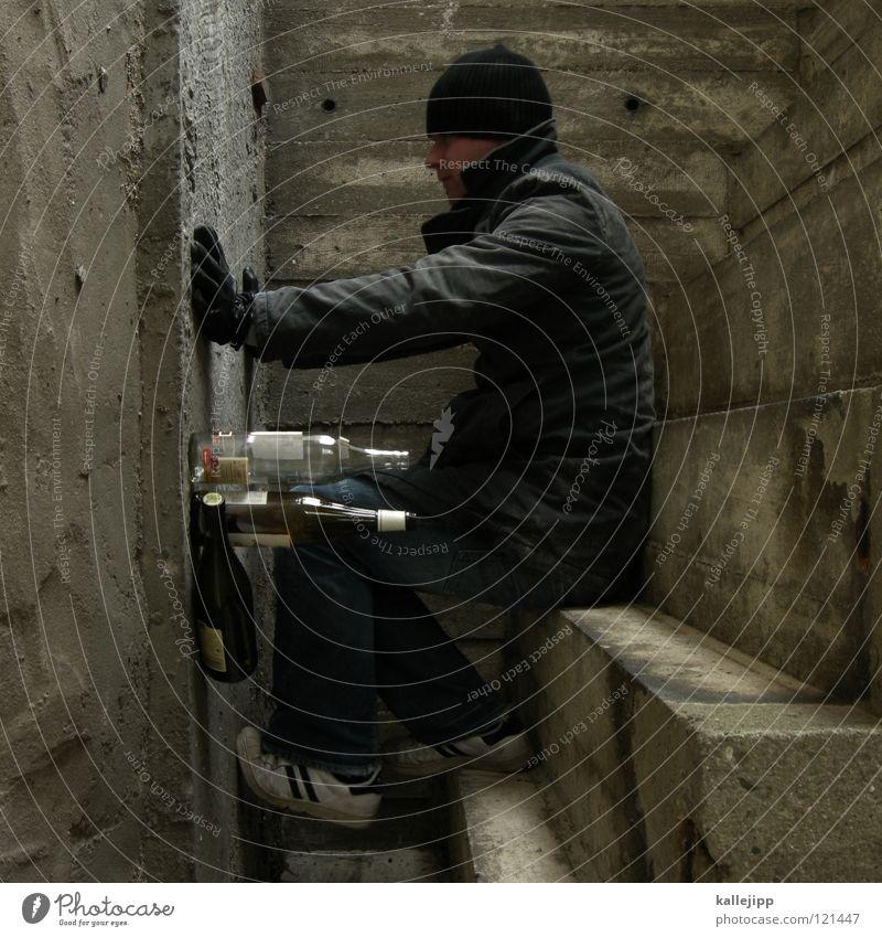 stern-hagel-voll I Beton gedreht Spirituosen Alkoholisiert Rauschmittel drehen Wand schlafen Wappen Käfig Platz eng gefangen gebeugt Körperhaltung Gewicht