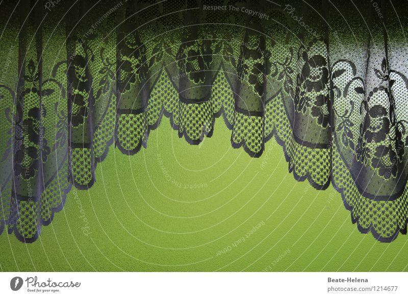 Idylle im Grünen alt grün weiß Fenster Gefühle außergewöhnlich Häusliches Leben ästhetisch Lebensfreude einzigartig Stoff Vorhang Spitze gemütlich Gardine