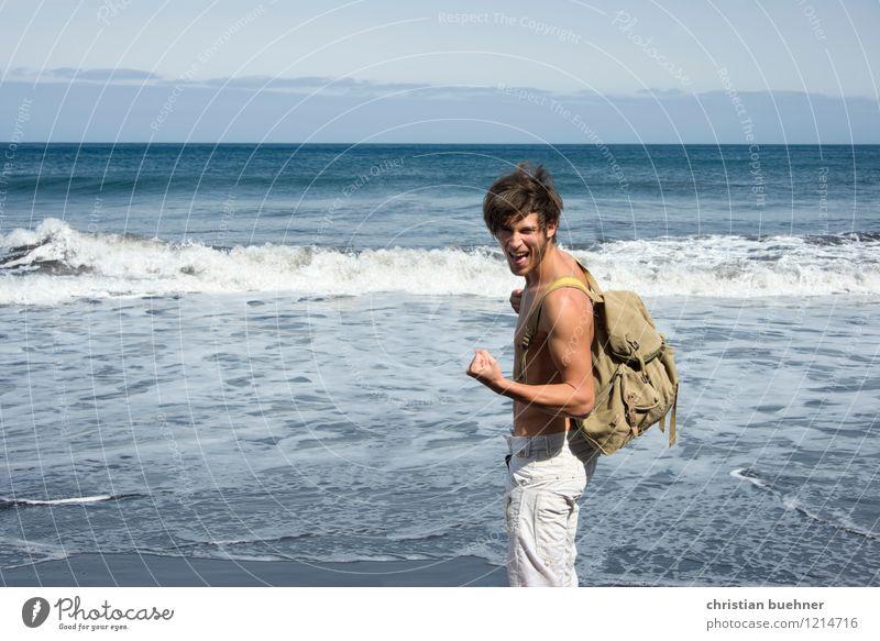 yeahhhhh Mensch Natur Ferien & Urlaub & Reisen Jugendliche nackt Sommer Sonne Erholung Meer Junger Mann Freude Ferne 18-30 Jahre Strand Erwachsene Freiheit