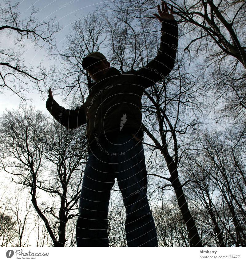 where light is blocked II Mensch Mann Jugendliche Himmel Baum schwarz dunkel