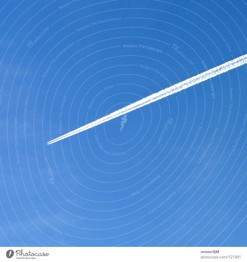 ein quadrat, ein flugzeugschweif, und schon ist es drin. Ferien & Urlaub & Reisen Flugzeug fliegen verrückt modern Luftverkehr Tourismus Rauch Quadrat Flughafen