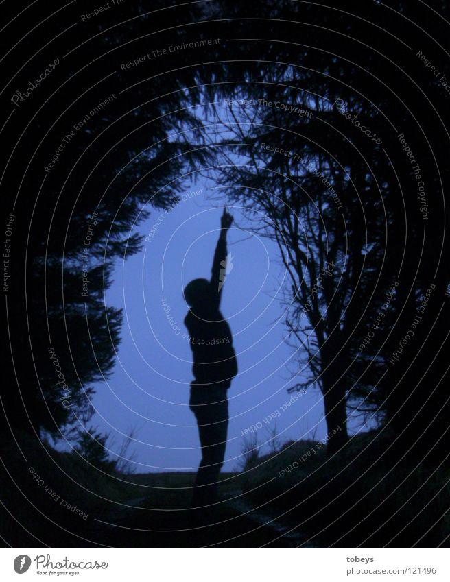 Von wegen klein!!! Mensch Hand Baum Freude Wald dunkel Straße Gras Wege & Pfade Traurigkeit groß stehen gefährlich Finger bedrohlich