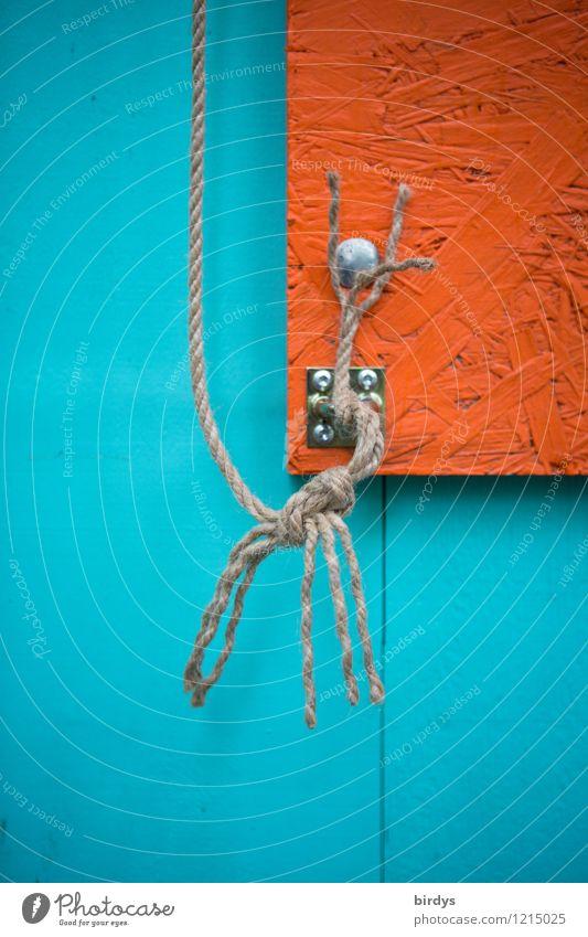 Türkis - Orange mit Strippe Schnur Knoten Holzfaserplatte Befestigung Ecke orange türkis Design Problemlösung Seil Franse ausgefranst graphisch Farbfoto