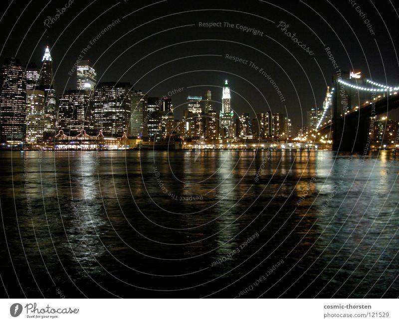 Manhattan bei Nacht #2 Wasser Hochhaus Fluss Skyline Anlegestelle Stadt New York City Brooklyn Brooklyn Bridge East River