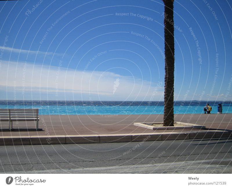 Strand_in_Nizza Meer Ferien & Urlaub & Reisen Palme Süden Wolken Erholung türkis Sommer Sonne Himmel Bordsteinkante Bürgersteig Monaco Cote d'Azur Blauer Himmel