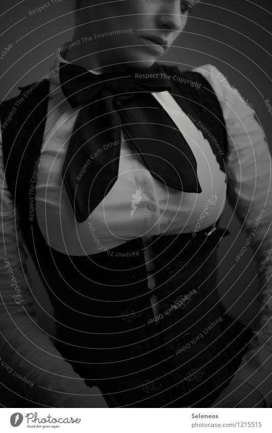 . schön Körper Mensch feminin Frau Erwachsene 1 18-30 Jahre Jugendliche Subkultur Rockabilly Mode Bekleidung Corsage Korsett Accessoire Schmuck Fliege Schleife