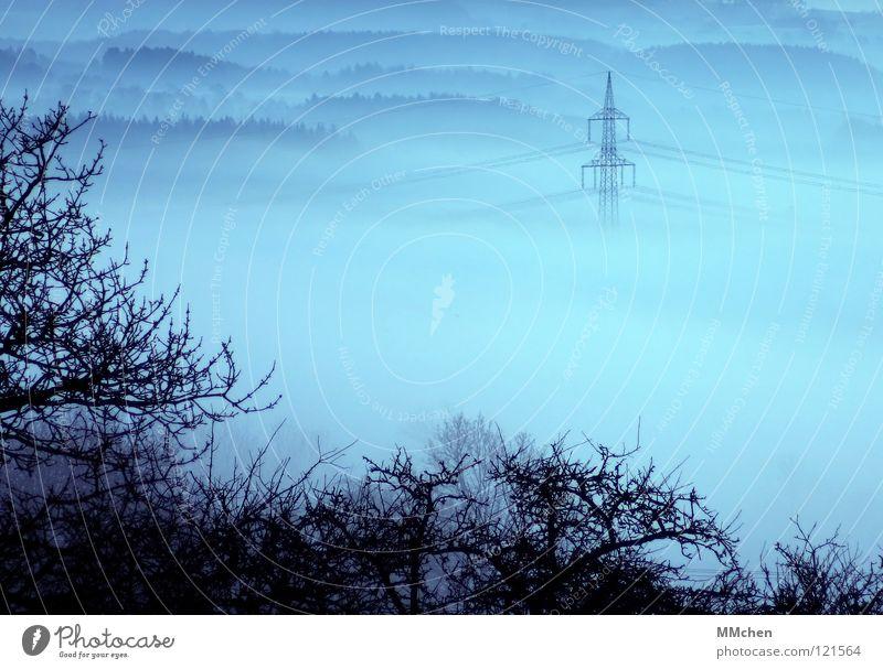 Vernebelt Himmel blau weiß Baum Winter dunkel kalt Wetter Nebel groß Elektrizität Kabel trist Sträucher verstecken Strommast