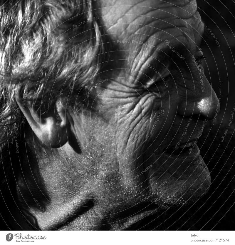 DAVE Mann Freude Gesicht Auge lachen Mund lustig Nase Falte Hals Fischer Feuerstelle Neuseeland interessant Wiedersehen Stirnfalte