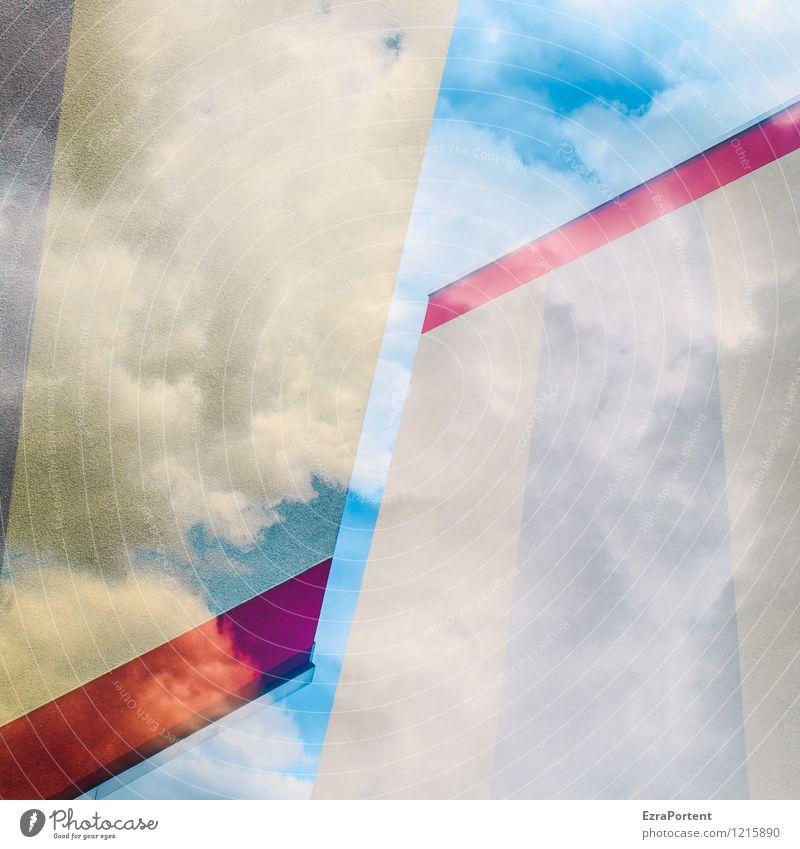 kcolB/Block elegant Stil Design Himmel Wolken Stadt Haus Bauwerk Gebäude Architektur Mauer Wand Fassade ästhetisch blau grau rot weiß Farbe Irritation