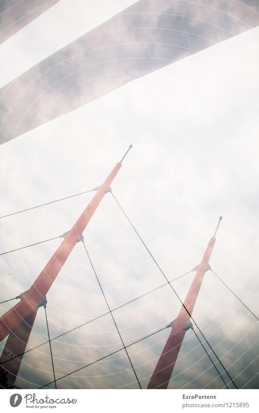 Titel gesucht! elegant Stil Design Kunst Umwelt Himmel Wolken Stadt Brücke Bauwerk Architektur Metall Linie Streifen ästhetisch hell grau rot weiß Röhren