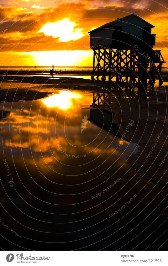 Strandhütte Sonnenuntergang Nordfriesland Meer Pfahlhaus Reflexion & Spiegelung Küste Kitsch St. Peter Nordsee Wasser Toilette Westküste