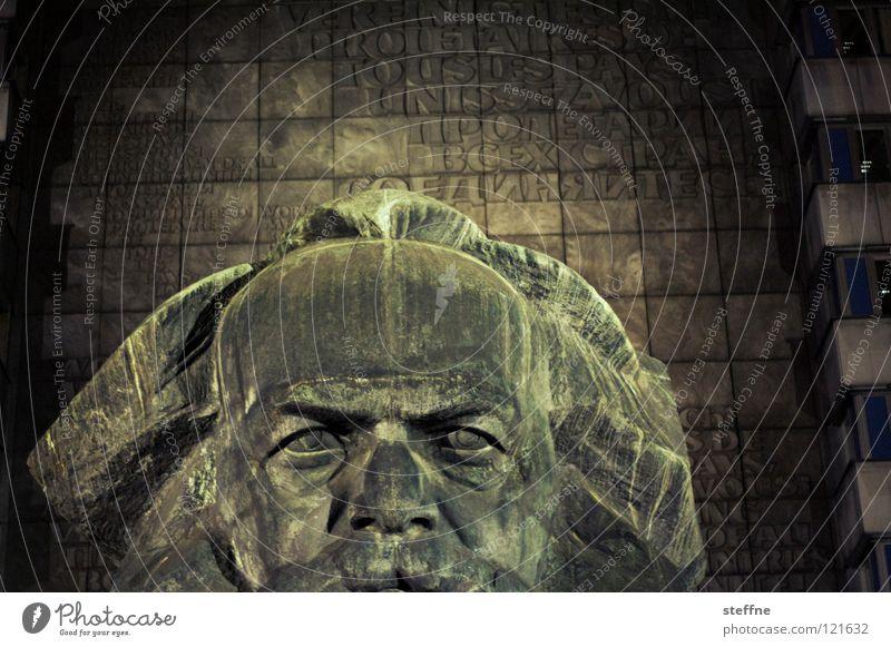 Hohe Stirn Mann rot schwarz dunkel Arbeit & Erwerbstätigkeit Kopf grau Kunst Deutschland Denkmal Vergangenheit Statue Wahrzeichen DDR Russland links