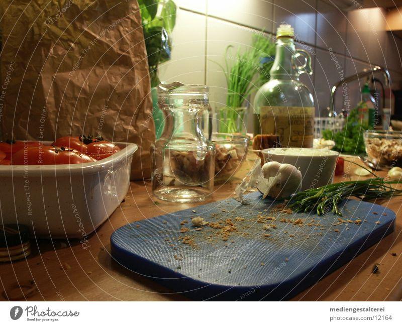 vorm Kochen Kräuter & Gewürze Kochen & Garen & Backen Öl Gemüse Tomate Basilikum Schnittlauch Vorbereitung Knoblauch Olivenöl Brotkrümel