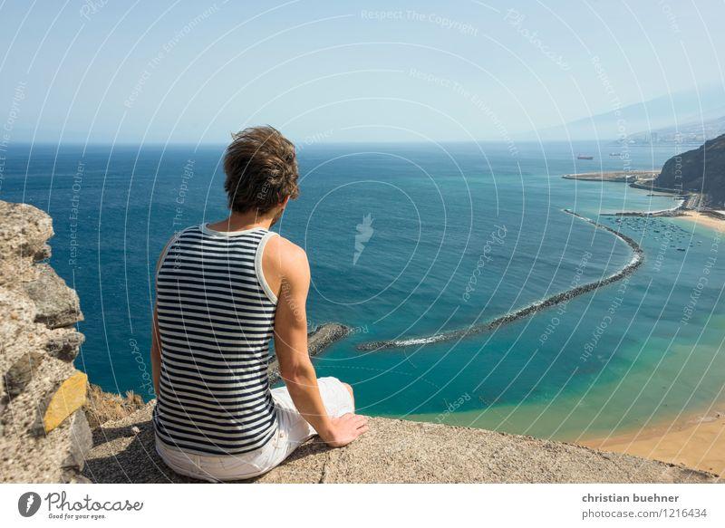 blickfang Mensch Himmel Natur Ferien & Urlaub & Reisen Jugendliche Sonne Meer Einsamkeit Landschaft Junger Mann Ferne 18-30 Jahre Strand Erwachsene Freiheit