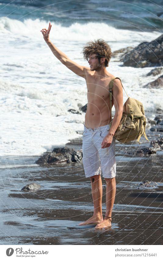 hallo taxi Mensch Ferien & Urlaub & Reisen Jugendliche nackt Sommer Sonne Erholung Meer Einsamkeit Junger Mann Freude 18-30 Jahre Strand Erwachsene Leben Glück