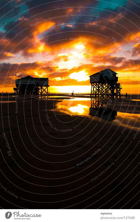 Strandtoilette Sonnenuntergang Nordfriesland Meer Pfahlhaus Reflexion & Spiegelung Küste Wasser Kitsch St. Peter Nordsee Toilette Westküste