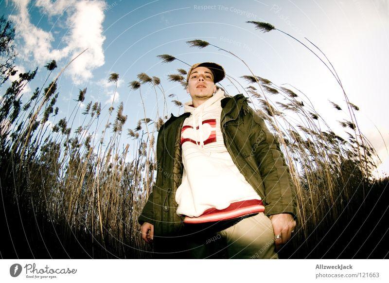 an einem Samstag im Februar Mann Himmel blau Winter Wolken kalt Küste Wind Erfolg Spaziergang Körperhaltung Brandenburg Schilfrohr Fischauge Hochmut Biegung