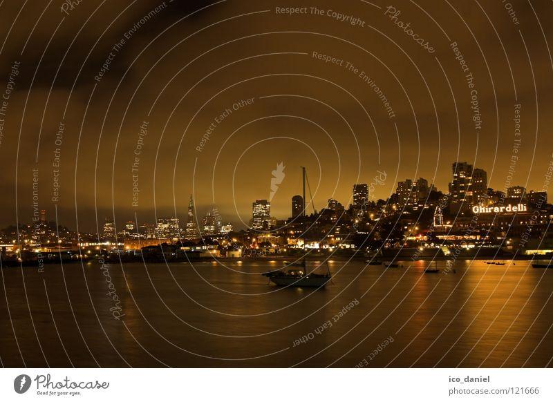 San Francisco - Night II Wasser schön Stadt Wolken ruhig schwarz Haus dunkel Lampe orange Wasserfahrzeug Energiewirtschaft leuchten USA Skyline Bucht