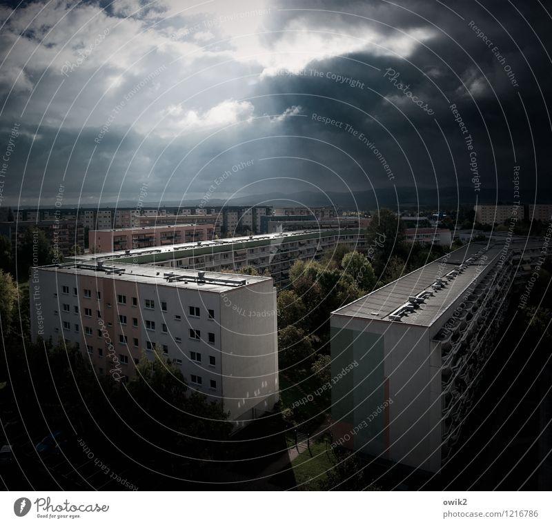 Carré Umwelt Himmel Wolken Klima Schönes Wetter Baum Kleinstadt Stadtrand bevölkert Haus Hochhaus Gebäude Architektur Plattenbau Stadtteil Wohngebiet Mauer Wand
