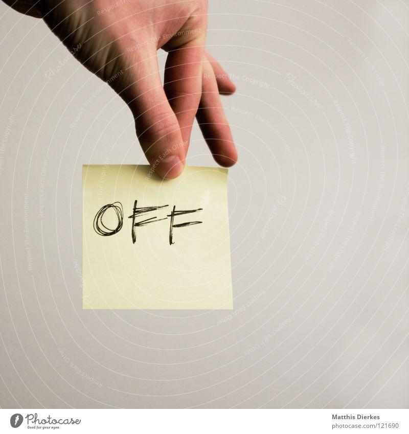 OFF Mensch Hand ruhig sprechen Kraft Energiewirtschaft Beginn modern Geschwindigkeit Aktion Schriftzeichen Finger Elektrizität Buchstaben Telekommunikation