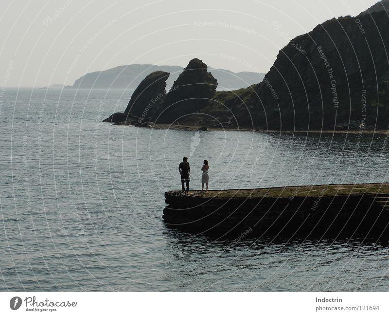 Paar und Felsen Schottland Meer Aussicht Plattform England Berge u. Gebirge paarweise
