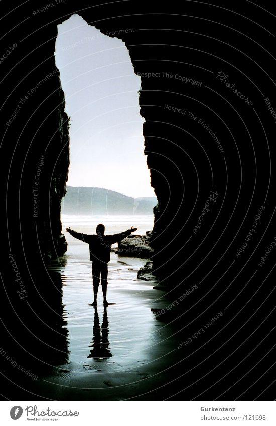 Willkommen in Moria Neuseeland Südinsel Höhle Meer Strand Reflexion & Spiegelung Küste Gotteshäuser cave cavern Kathedrale cathedral cave Wasser Schatten